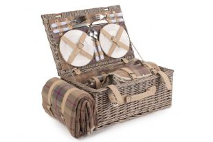 Willow Direct Picnic Hamper  Lavender Tartan 4 Person